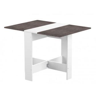 Curry Table A Manger Pliante De 4 A 6 Personnes Style Contemporain Blanc Mat Et Decor Beton L 103 X L 76 Cm