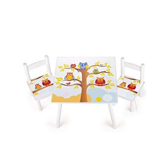 Table Et 2 Chaises Enfant Motif De Hiboux Chambre Meuble Mobilier Chaise D39enfant Baby Pour Enfants Petit Bureau Couleur Blanc Avec