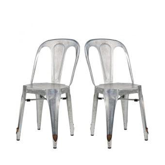 Lot de 2 Chaises métal galvanisé Strong - Couleur - Gris ...