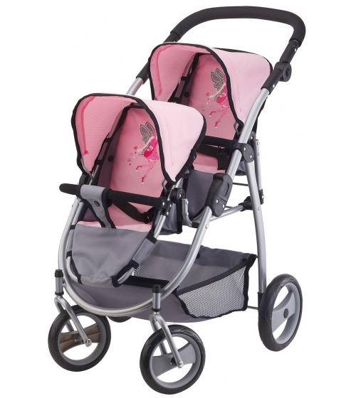 Bayer chariot de poupée Twin gris / rose 60 cm
