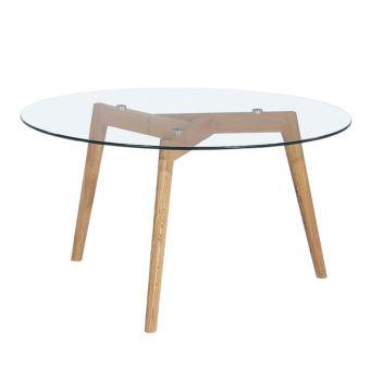 Table Basse Ronde Verre Et Bois ø90cm Ingmar Couleur Bois Verre
