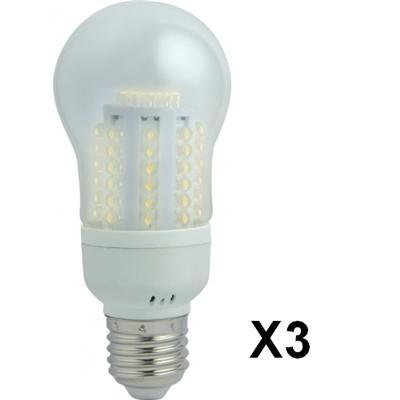 Lot de 3 Ampoules Eco Basse Consommation 60 LED - 3,2 W = 24 W - E27 - Poire - 50 000 heures
