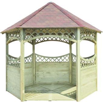 Kiosque de jardin en bois avec toiture rouge | Burger - Mobilier de ...