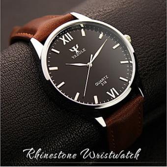 hot-vente authentique Découvrez 100% de satisfaction Montre Hommes, Simple avec Bracelet en Cuir Marron-Noir ...