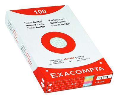 Bristol Exacompta 100x150mm 205g quadrillé perforé - Etui de 100 fiches - Coloris assortis
