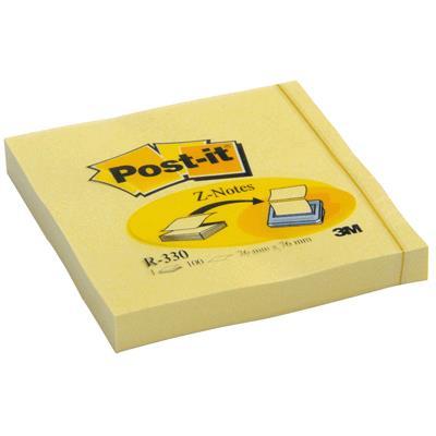 Post-it - Recharge Z-Notes Bloc de 100 feuilles 76x76mm Jaune Pastel