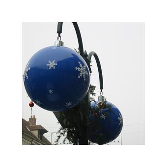 Grosse boule de noël décor Ø 800 Joyeuses fêtes Laqué vert