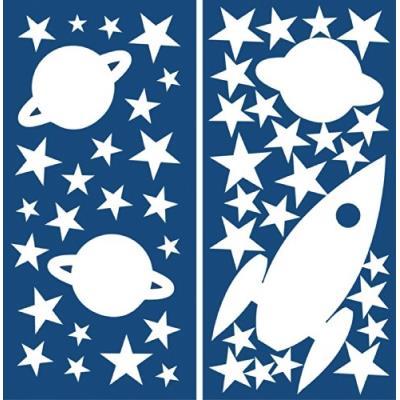 Crearreda 77226 moderne sticker etoile planète et fusée repositionnable taille s vinyle blanc 31 x 15 x 0,05 cm 539095