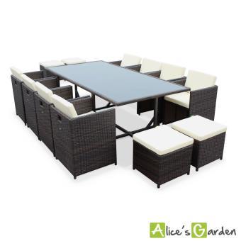 Salon de jardin Vasto Chocolat table en résine tressée 8à 12 places,  fauteuils encastrables - Alice\'s Garden