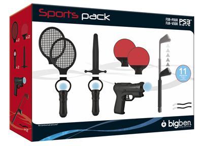 Contenant 2 raquettes de tennis, 1 club de golf, 2 raquettes de tennis de table, 1 épée, 1 pistolet, 2 intégrateurs pour PS3 Move et 2 dragonnes de sécurité.
