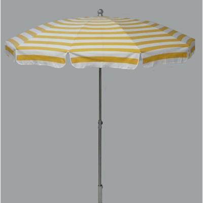 Parasol rond centré coloris Rayé Blanc/Jaune - Dim : H 230 x D 200 /10 cm -PEGANE-