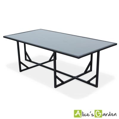 Salon de jardin Vasto Noir table en résine tressée 8à 12 places ...