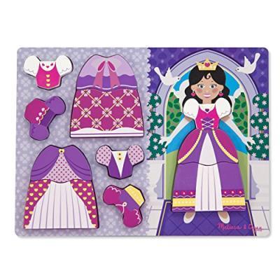 Puzzle 2 en 1 à encastrer en bois le dressing de la petite princesse 11 pièces