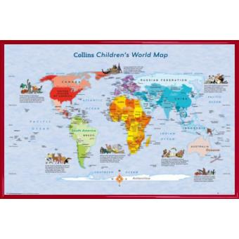 poster encadr cartes du monde children s map 61x91 cm cadre plastique rouge poster. Black Bedroom Furniture Sets. Home Design Ideas