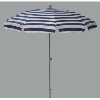 Parasol rond centré coloris Rayé Blanc/Bleu - Dim : H 230 x D 200 /10 cm -PEGANE-