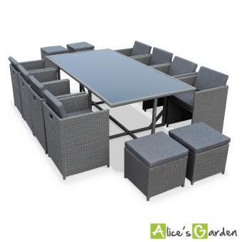 3 sur salon de jardin vasto gris table en r sine tress e 8 12 places fauteuils encastrables. Black Bedroom Furniture Sets. Home Design Ideas