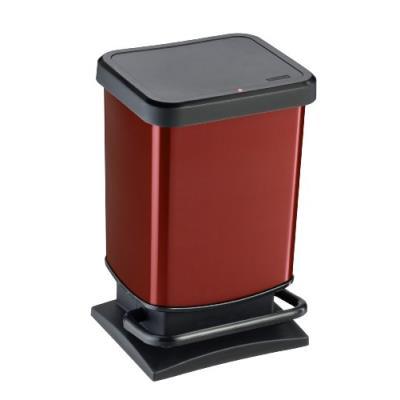 Rotho 2043973 paso poubelle à pédale métallique rouge 20 l
