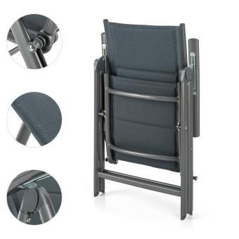 6EUR91 Sur Blumfeldt Stylo Noble Grey Chaise De Jardin Pliante Aluminium Gris