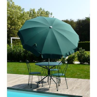 Parasol rond centré coloris Vert - Dim : H 230 x D 200 /10 cm -PEGANE-