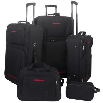 vidaXL Set de valises noires, 5 pièces