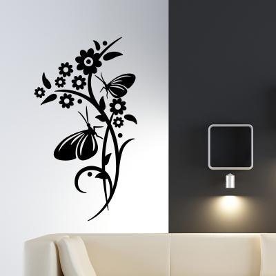 Pick and Stick Sticker Mural Couple de papillon - 120 x 55 cm, Noir