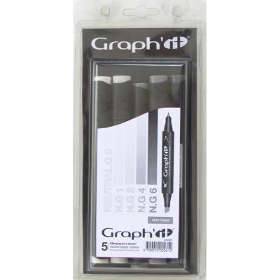 Set 5 Marqueurs à alcool Graph'it - Grey tones - Graph it