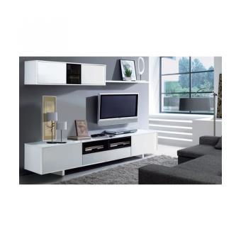 belus meuble tv mural 200 cm noir blanc meuble tv achat prix fnac. Black Bedroom Furniture Sets. Home Design Ideas