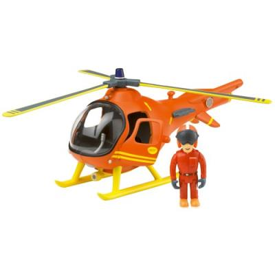 Sam le pompier- Grand Hélicoptere de sauvetage en montagne de 25 cm et figurine Tom