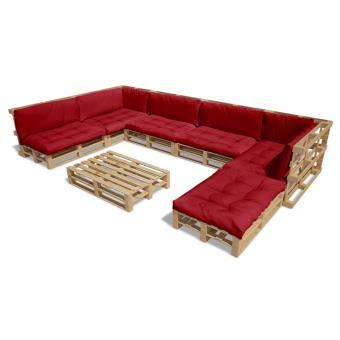 vidaXL Salon d\'extérieur en palette de bois avec 13 coussins rouge ...