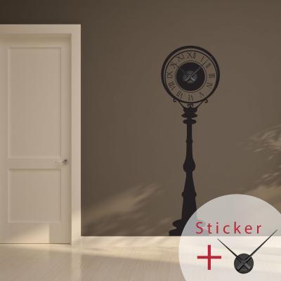 Pick and Stick Clock Sticker Mural horloge lampadaire - 110 X 55 cm, Noir