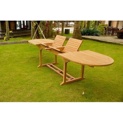 Salon de jardin Kajang Teck brut 12/14 pers. - Table ovale + ...