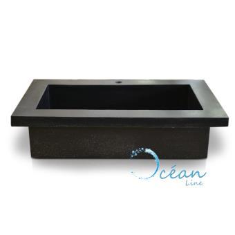 Vasque à poser ou à encastrer rectangulaire xxl en terrazzo noire ...