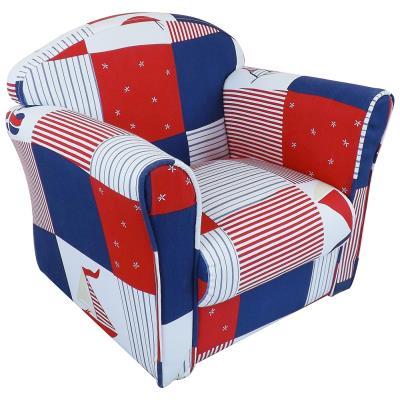 Mini fauteuil enfant bleu patchwork