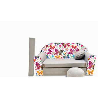 canape sofa enfant 2 places convertible gris papillons fauteuils enfant achat prix fnac. Black Bedroom Furniture Sets. Home Design Ideas