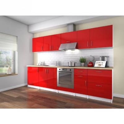 La cuisine complete NEO coloris laqué rouge haute brillance est composée de 10 éléments pour une longueur totale de 3 metres. Munie de 3 meubles bas, d'un meuble sous-évier, d'un meuble four, de 4 meubles hauts et d'un meuble hotte. Le plan de travail est