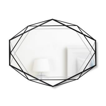 Miroir mural forme g om trique en m tal prisma noir for Miroir geometrique