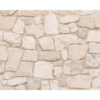 Papier Peint Pp Pierre Beige Clair Lot De 12 Decoration Des Murs