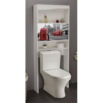meuble wc london en bois avec 2 portes coulissantes 63 x 23 x 175 cm pegane accessoires salles de bain et wc achat prix fnac