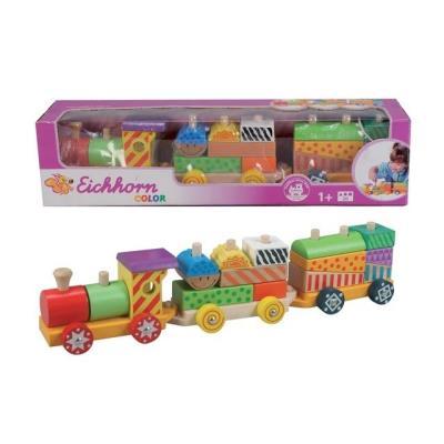 Eichhorn - Ref 2223 - Jouet En Bois - Petit Train 1 Locomotive Et 2 Wagons (Long De 41 Cm)