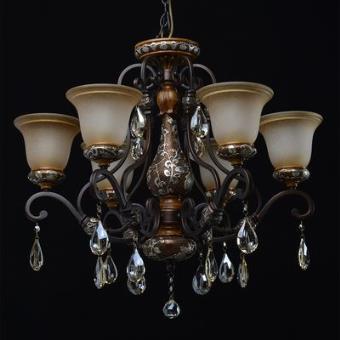 Lustre Country Noir et marron vieilli 6x60W Boutica Design