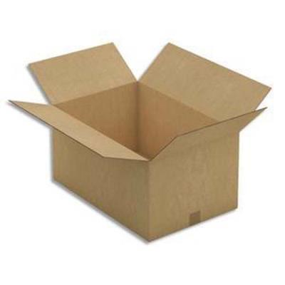 Paquet de 5 Caisses américaines en carton brun double cannelure - Dim. : L60 x H60 x P60 cm