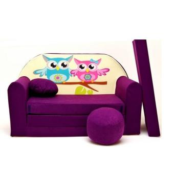 Canape sofa enfant 2 places convertible violet hiboux - Canape enfant places ...