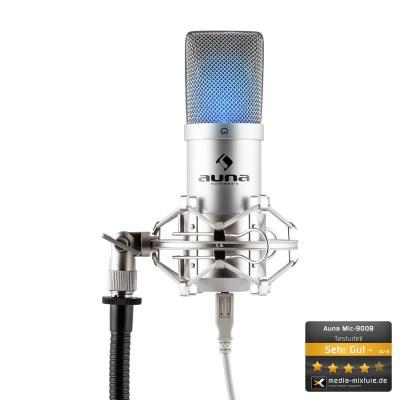 auna MIC 900S LED Microphone à condensateur USB Studio argent