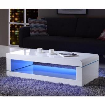 photos officielles 800c2 ba12a Luz table basse 120cm laqué blanc brillant avec led multicolore