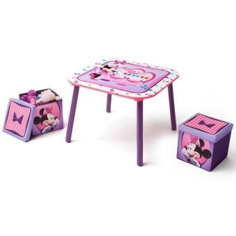 Minnie Table Enfant Et 2 Poufs De Rangement Delta Children