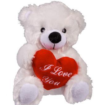 ours en peluche blanc 20 cm coeur i love you achat prix fnac - Ours Coeur