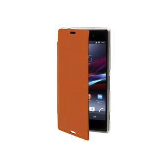 Muvit Made in Paris Crystal Folio - Flip cover voor mobiele telefoon - PU nappaleer - koninklijk oranje - voor Sony XPERIA Z3 Compact