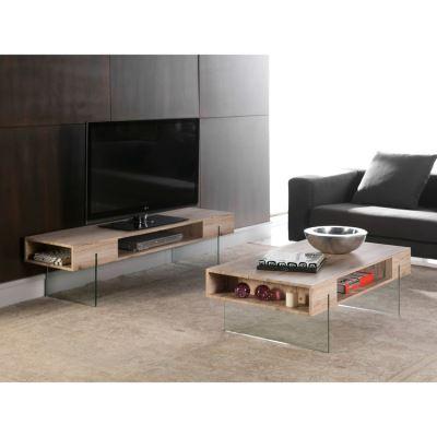 Meuble Tv En Bois Decor San Remo Et Pieds En Verre Niches