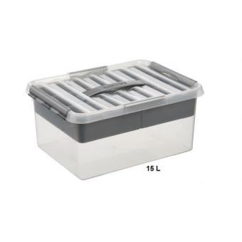 grande boite de rangement multifonctions avec compartiment amovible 15 litres achat. Black Bedroom Furniture Sets. Home Design Ideas