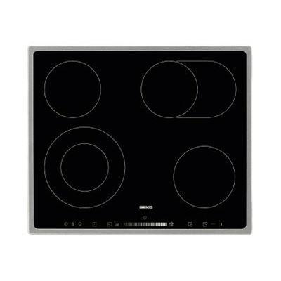 Beko HIC 64503 TX - Vitrocéramique - 4 plaques de cuisson - Niche - largeur : 56 cm - profondeur : 49 cm - avec garnitures en acier inoxydable - noir